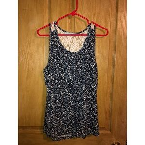Maurices tank top. XL. Navy and white paisley
